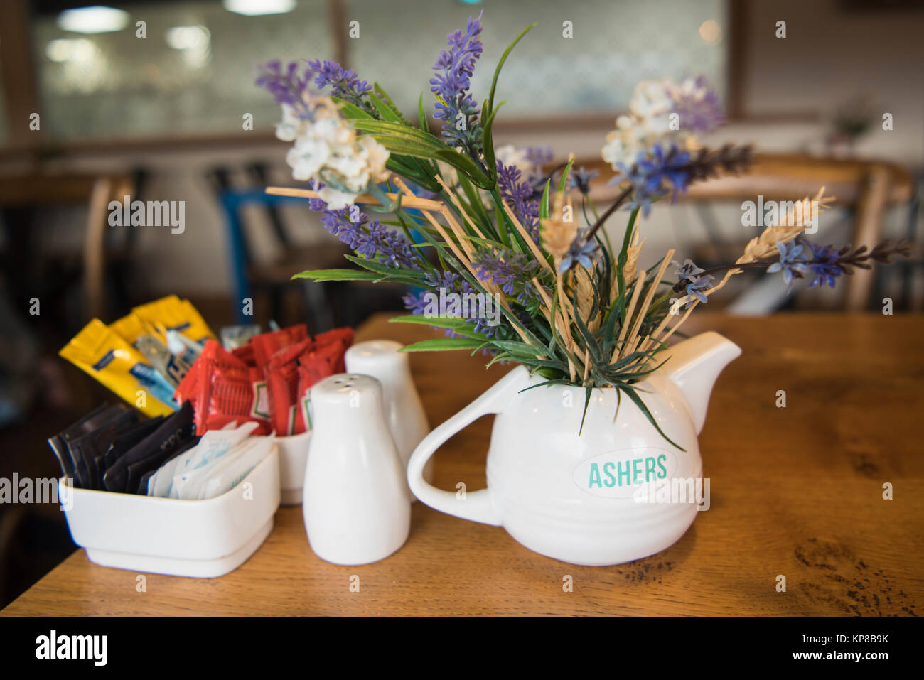 Table setting inside Ashers' Home Bakery Cafe, Newtownabbey. Ashers' became famous when the owners refused - Stock Image