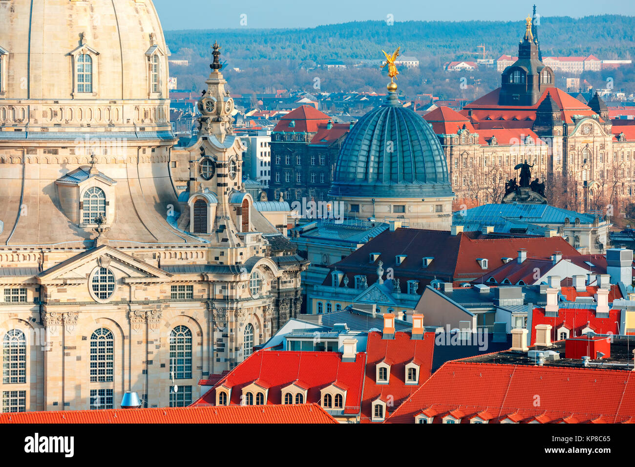 Aerial view of domes and roofs Dresden, Germany - Stock Image