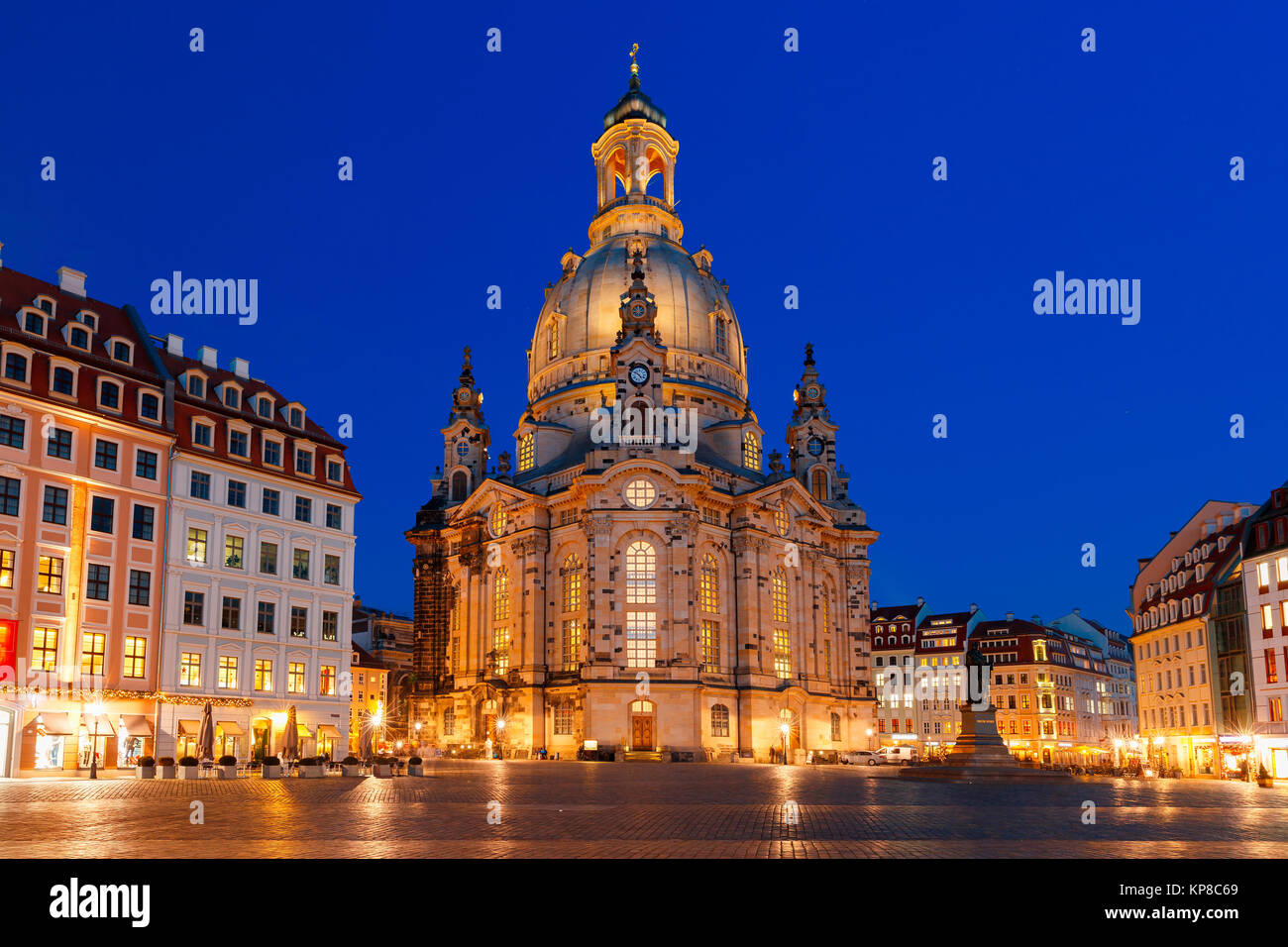 Frauenkirche at night in Dresden, Germany - Stock Image