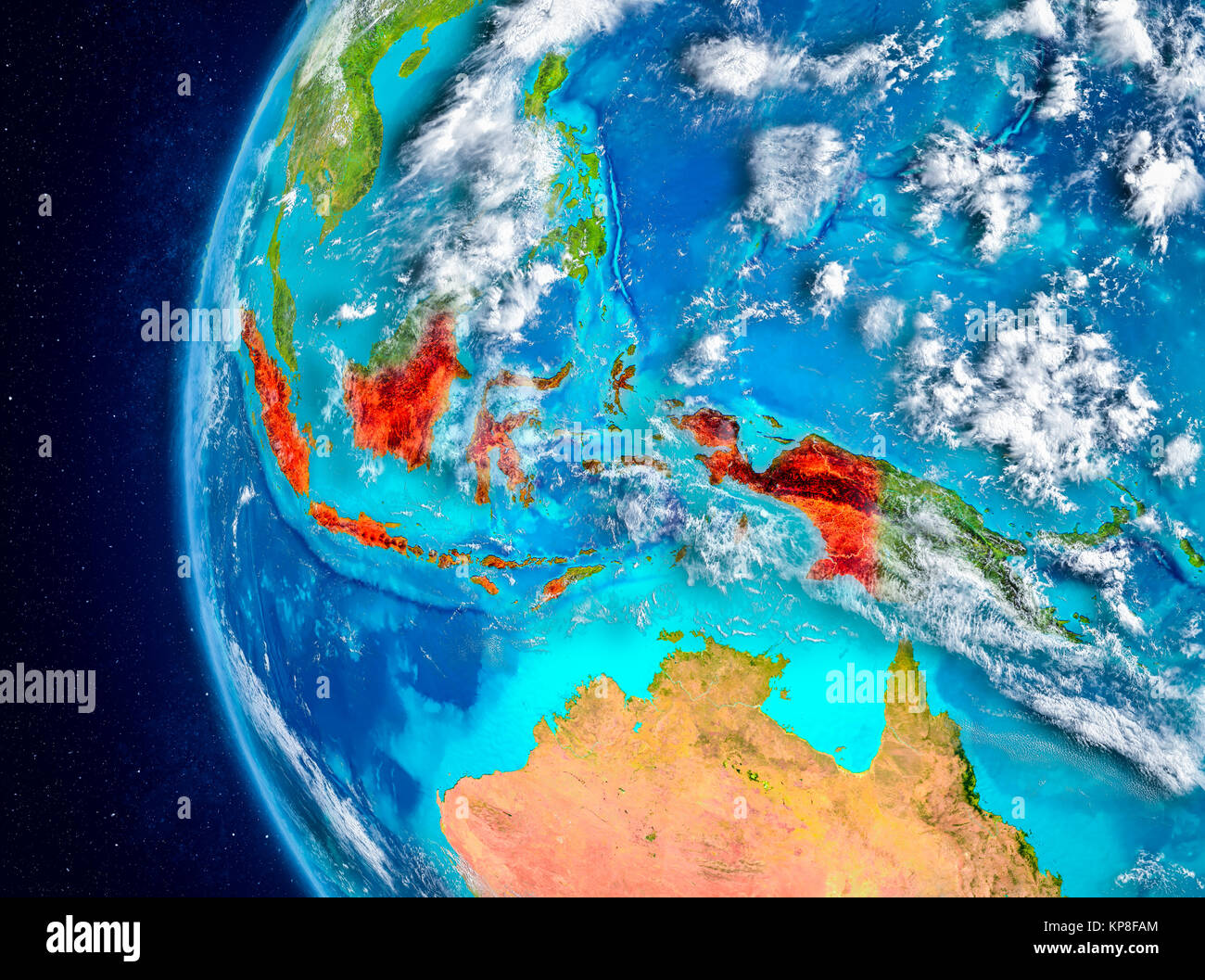 Map of Indonesia as seen from space on plaEarth with clouds