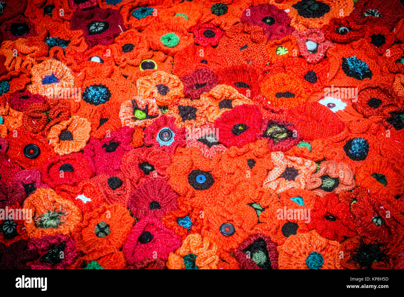 Artificial poppies for remembering fallen Australian soldiers during the WWI. - Stock Image