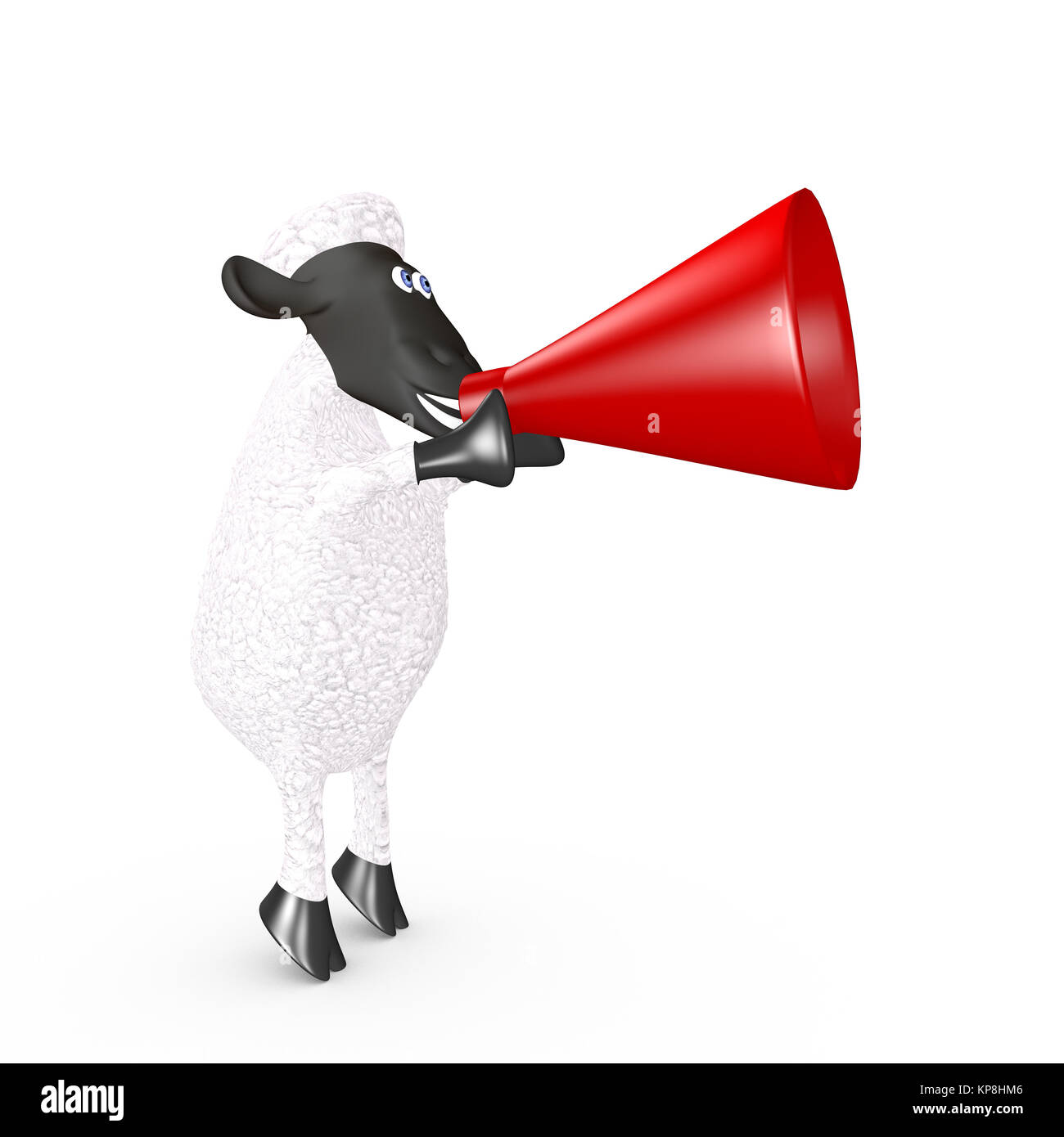 funny sheep speaking loudly into a megaphone - Stock Image