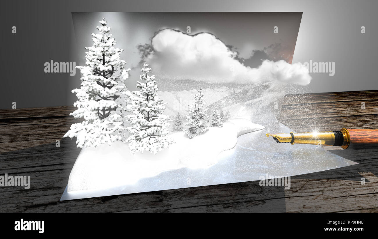 Wish card with snowy mountains coming out of the postcard - Stock Image