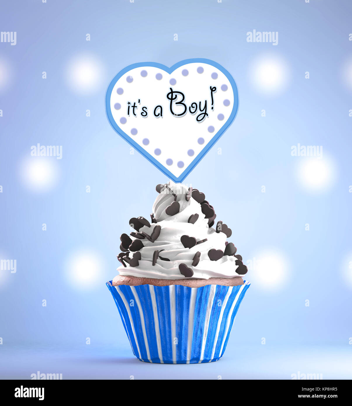 Newborn baby boy card message on a delicious cupcake stock photo newborn baby boy card message on a delicious cupcake m4hsunfo