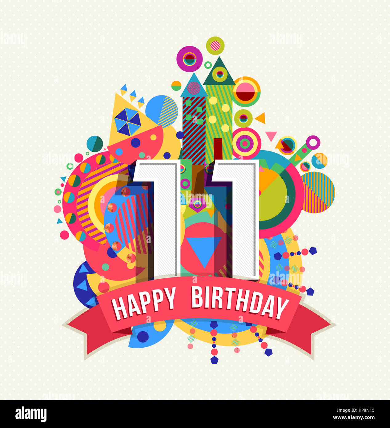 Birthday Date Poster: Happy Birthday 11 Year Greeting Card Poster Color Stock