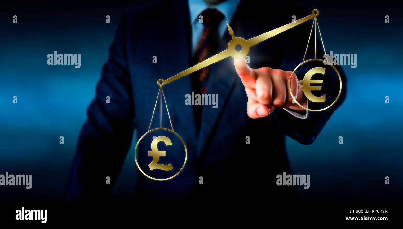 British Pound Sterling Outweighing The Euro Sign - Stock Image