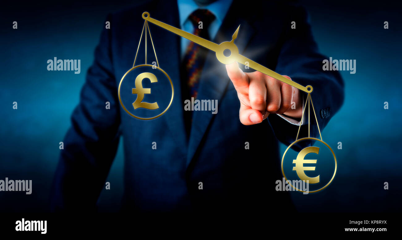 Euro Outbalancing The British Pound Sterling - Stock Image