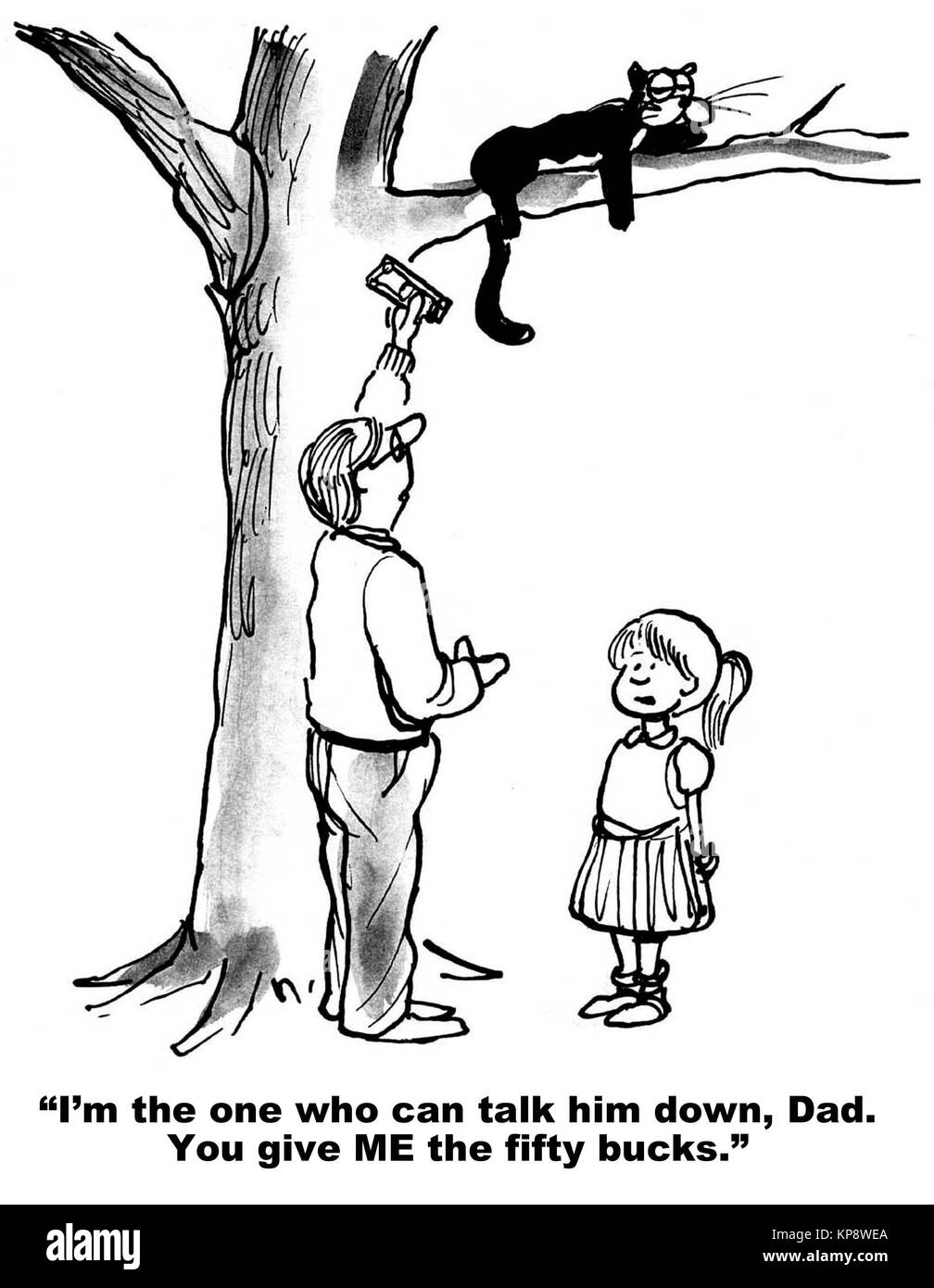 A cat is stuck high in a tree and the girl wants $50 from her father to talk the cat down - Stock Image