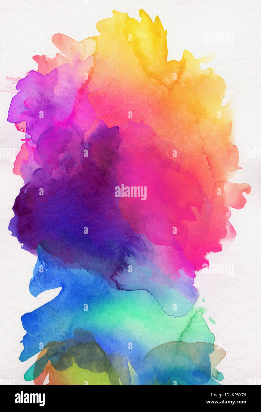 watercolor rainbow abstract running - Stock Image