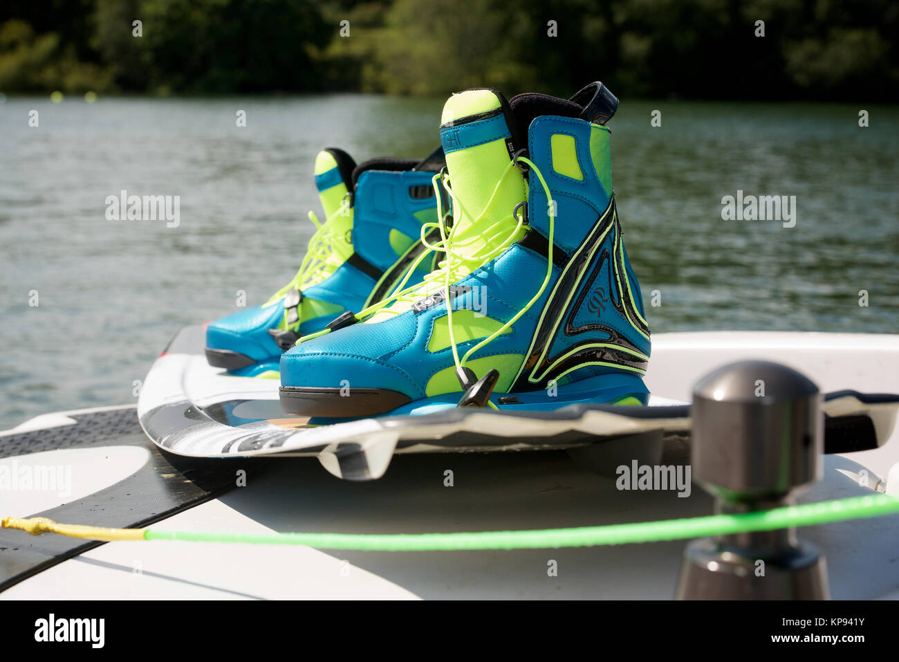 Wakeboard and boots - Stock Image