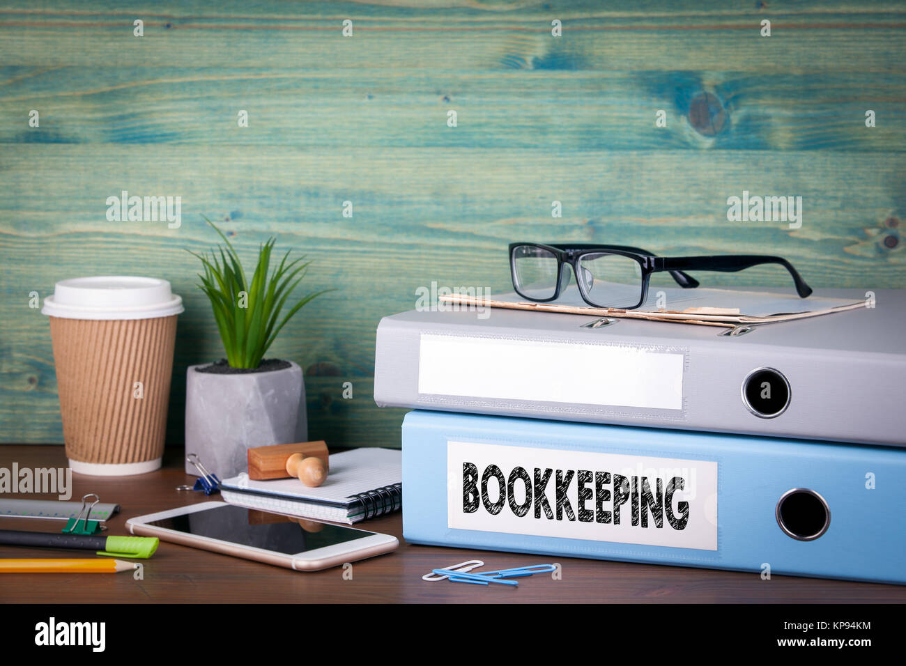 bookkeeping concept. Binders on desk in the office. Business background - Stock Image