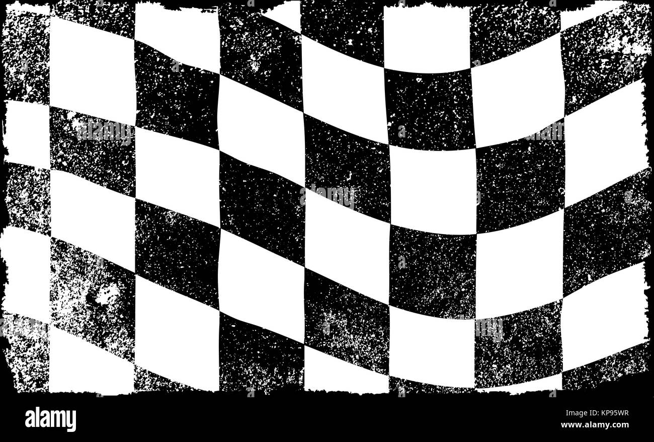 Grunged Chequered Flag - Stock Image