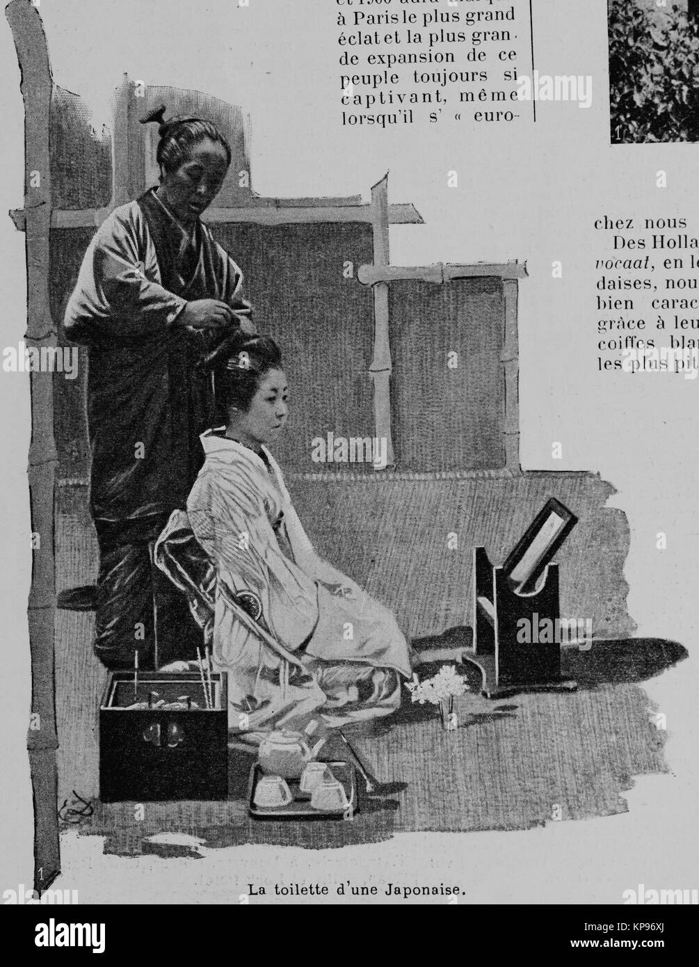 Japanese women's toilet, Women of the Universal Exhibition 1900 in Paris, Picture from the French weekly newspaper - Stock Image