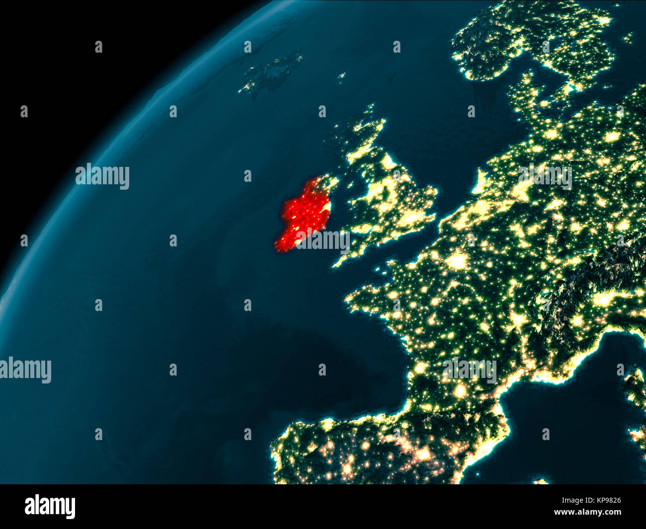 Map Of Ireland 3d.Night Map Of Ireland As Seen From Space On Planet Earth 3d Stock