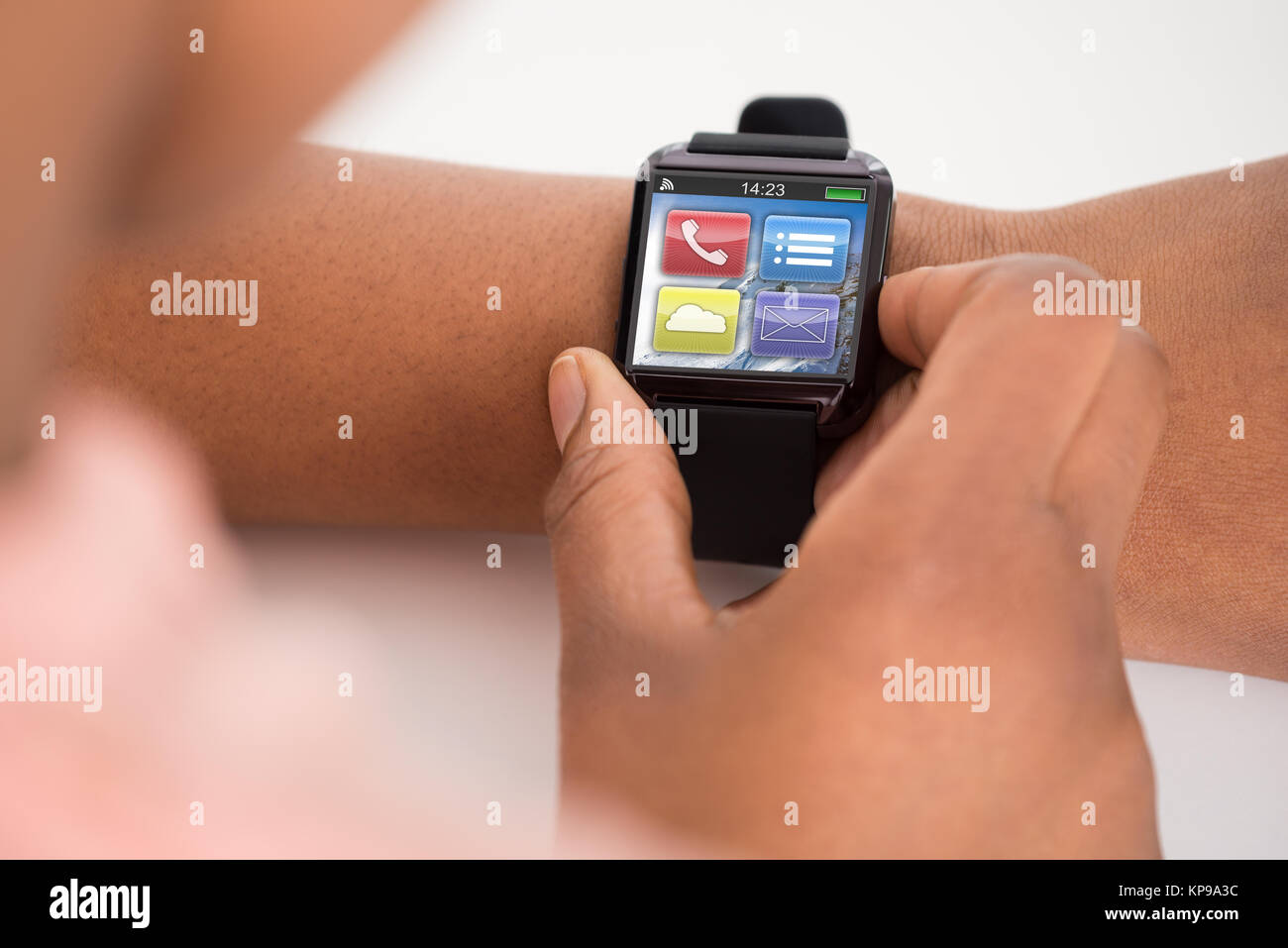 Person's Hand Wearing Smartwatch - Stock Image