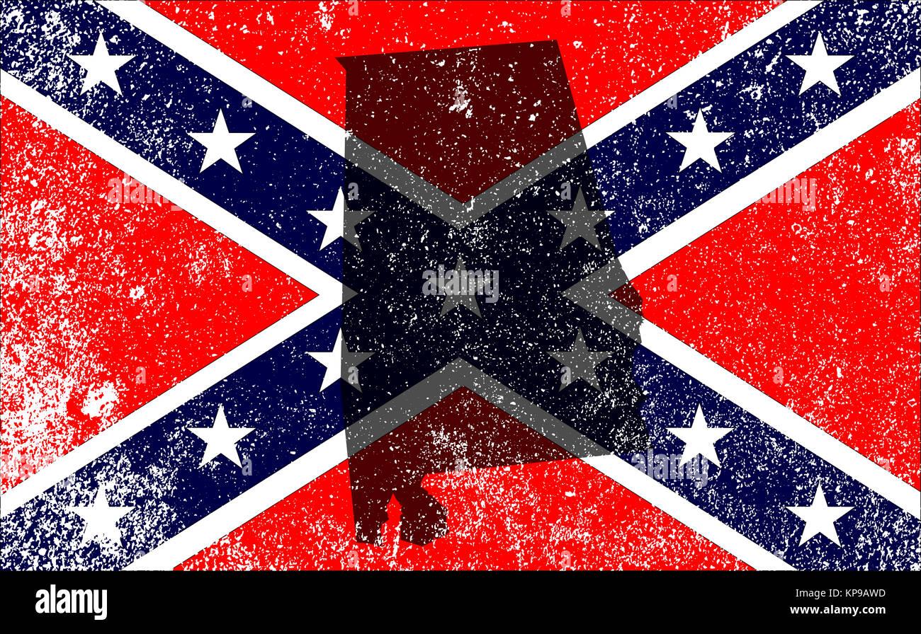 Rebel Civil War Flag With Alabama Map - Stock Image