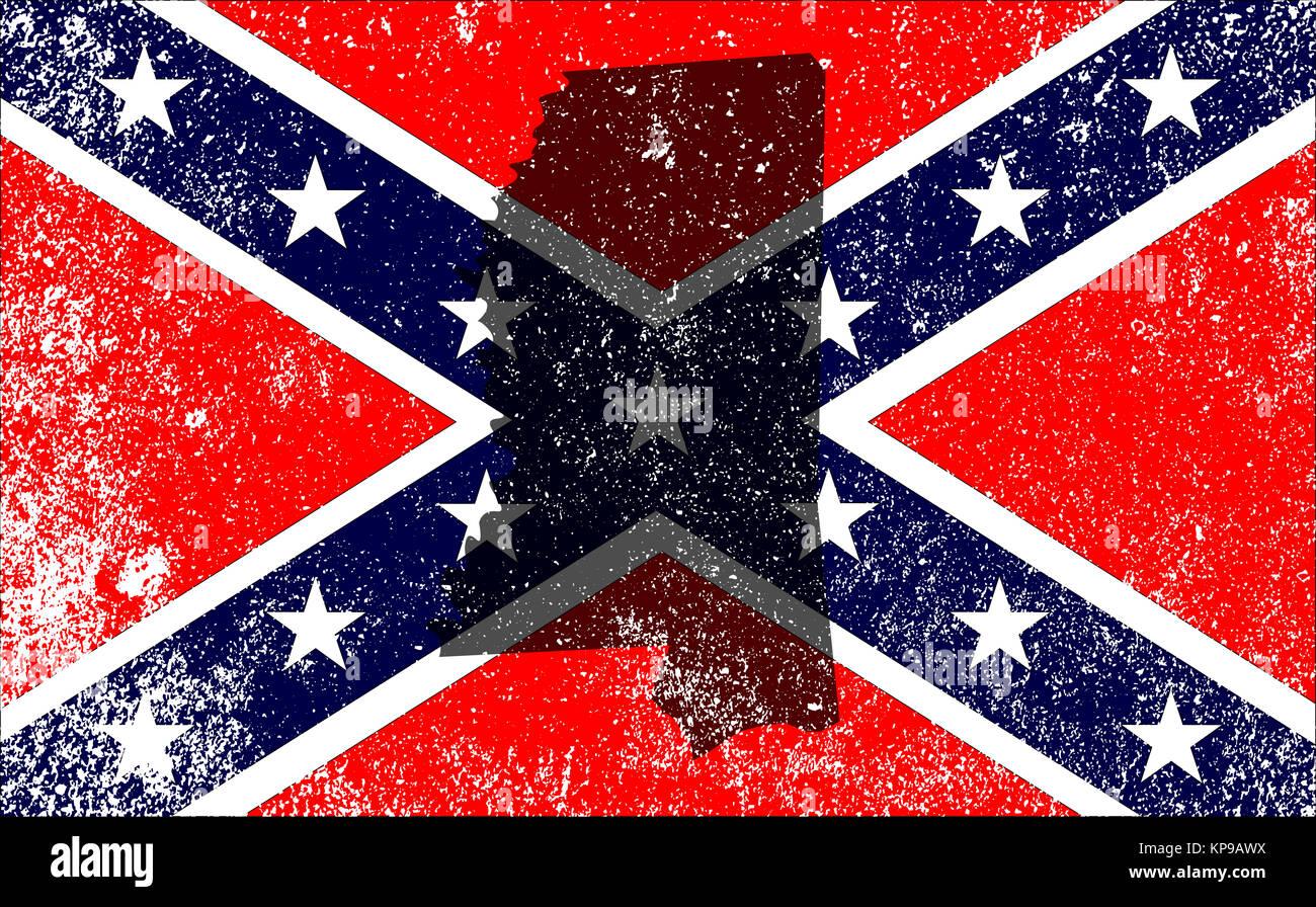 Rebel Civil War Flag With Mississippi Map - Stock Image