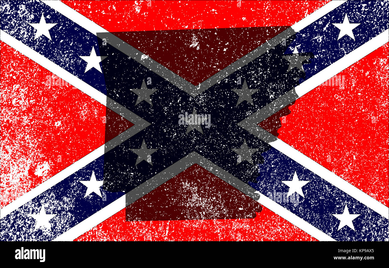 Rebel Civil War Flag With Arkansas Map - Stock Image