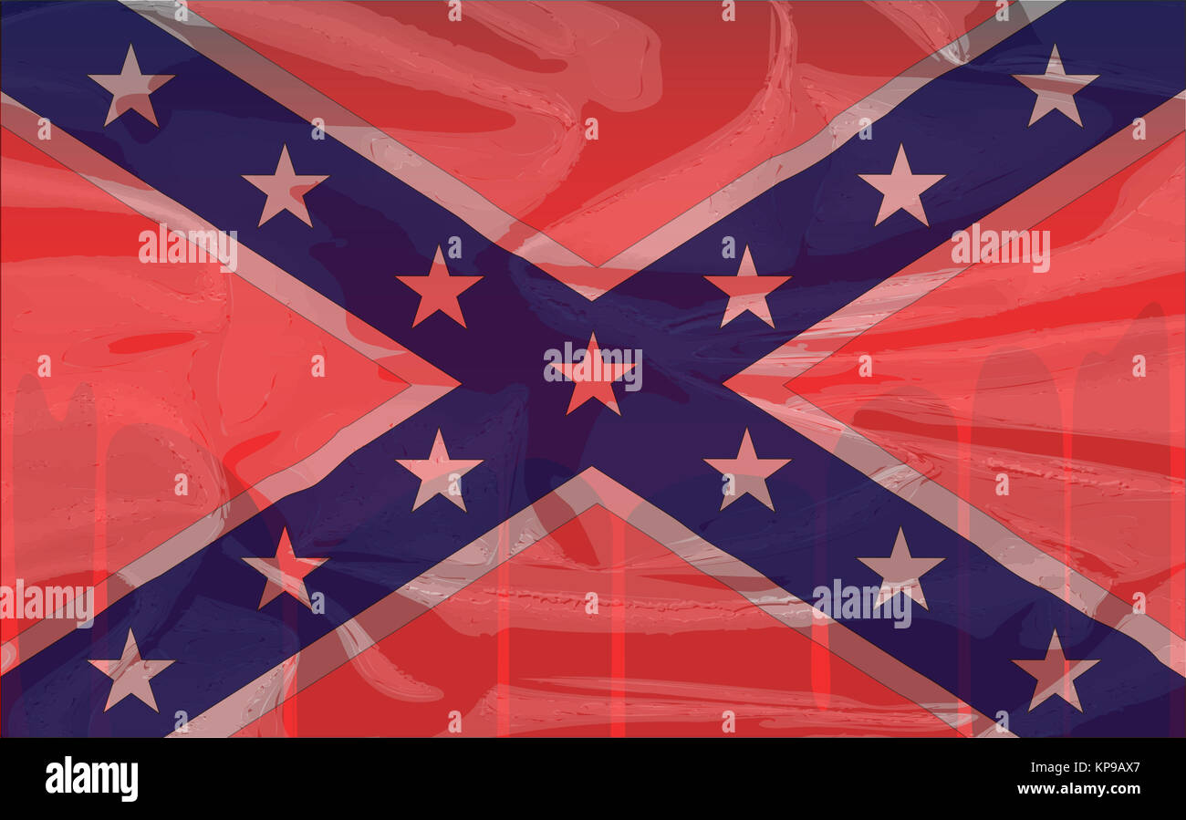 Blood Soaked Confederate Flag - Stock Image