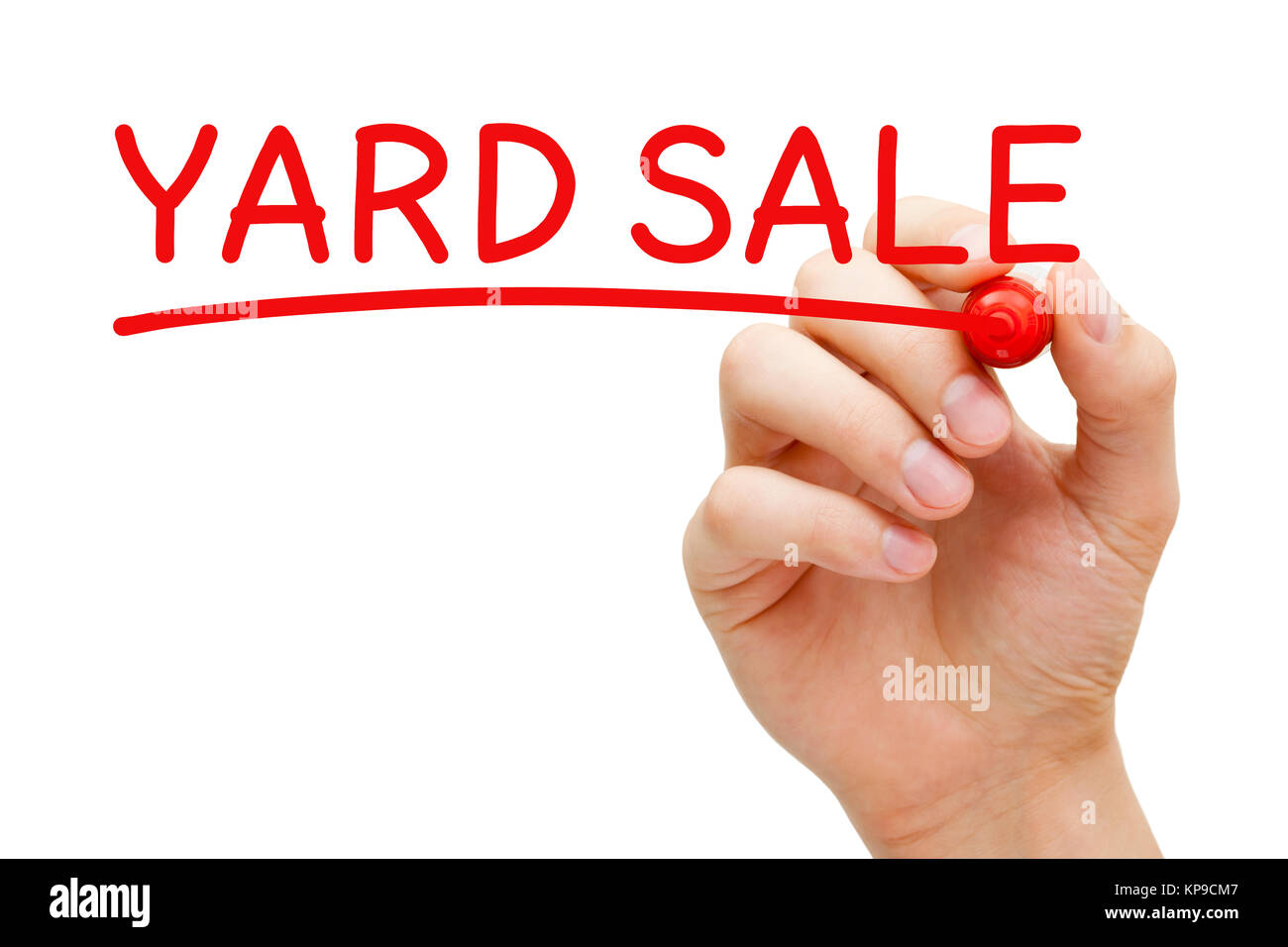 Yard Sale Hand Red Marker Stock Photo