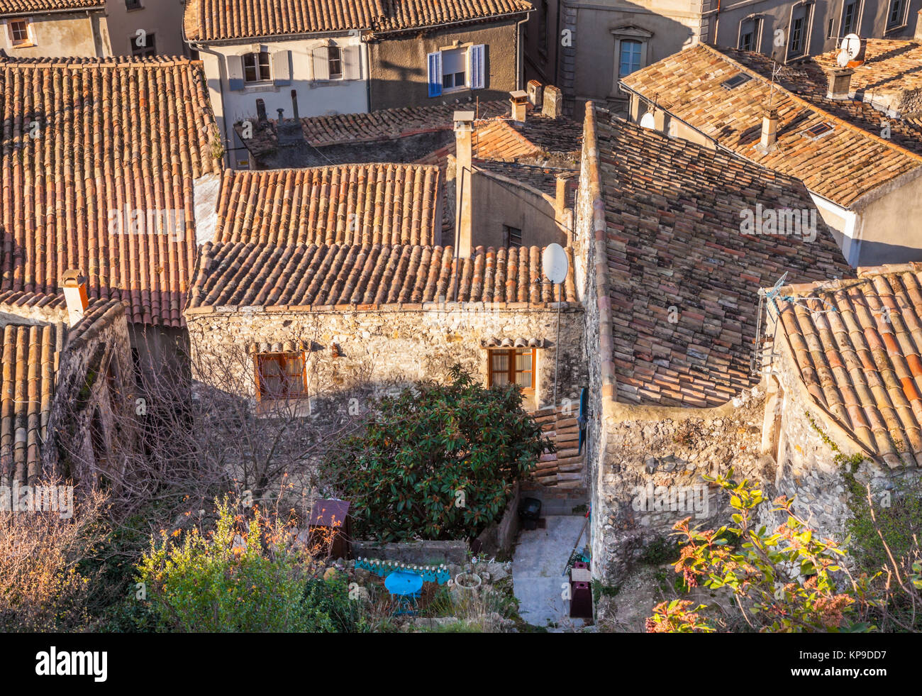 über die Dächer von Viviers ardeche Frankreich - Stock Image