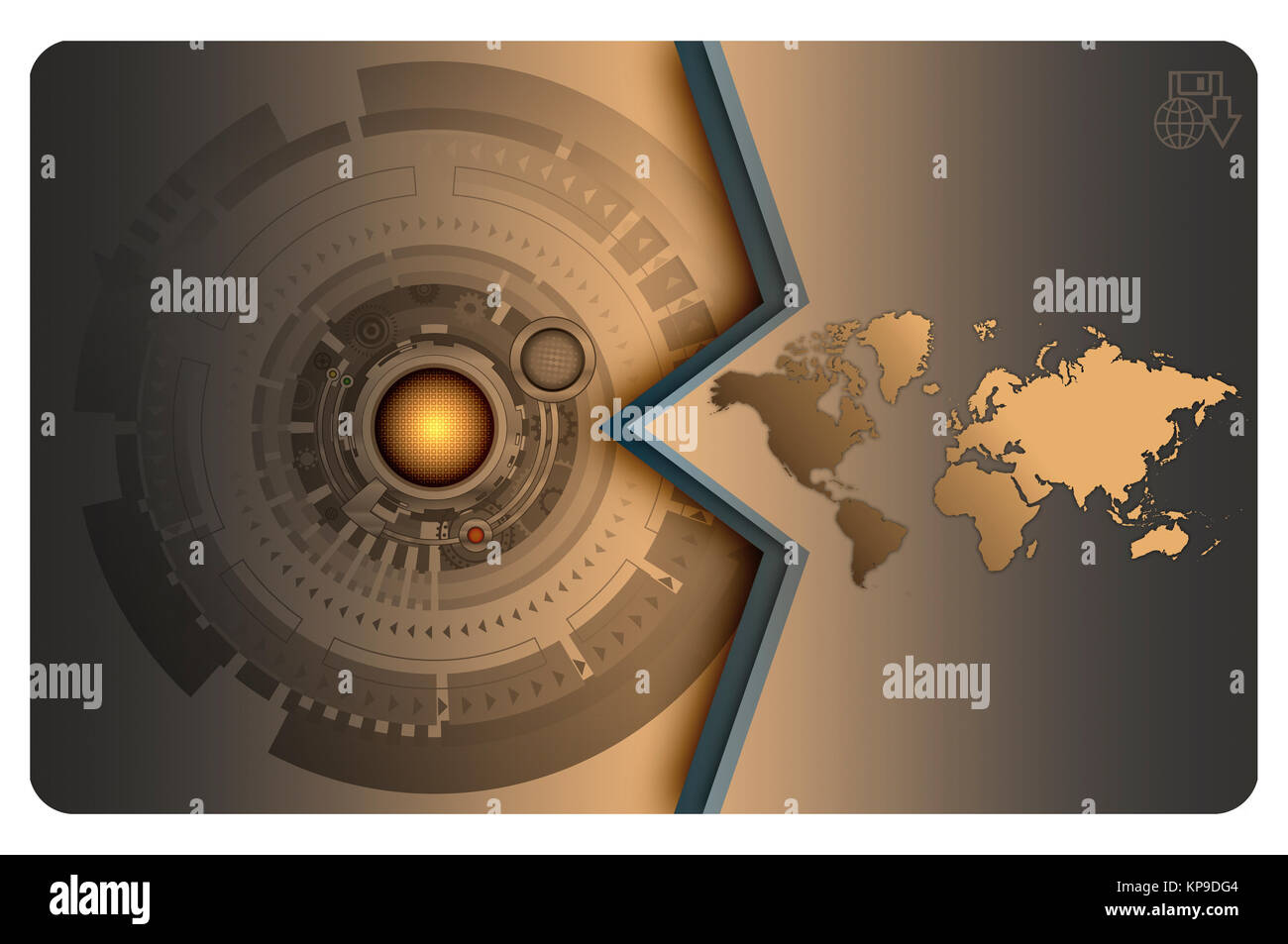 Futuristic background with abstract technology elements and world futuristic background with abstract technology elements and world map for the design of business card colourmoves