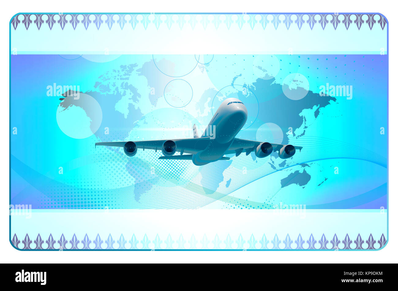 Futuristic blue background with airplane,world map and abstract ...
