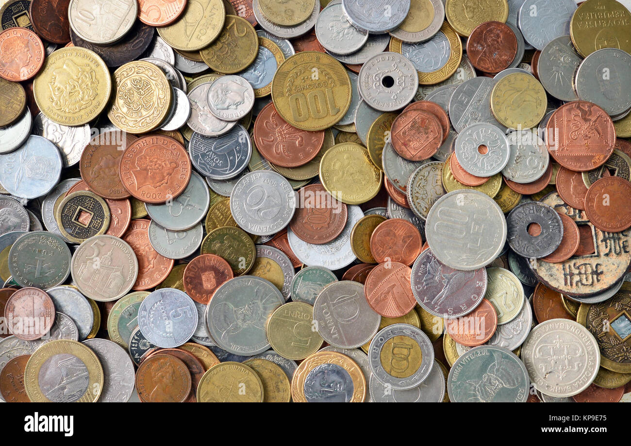 international coins texture - Stock Image