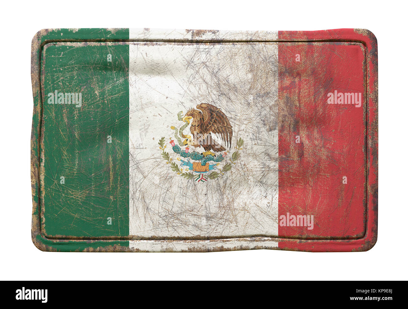 3d rendering of a Mexico flag over a rusty metallic plate. Isolated on white background. - Stock Image