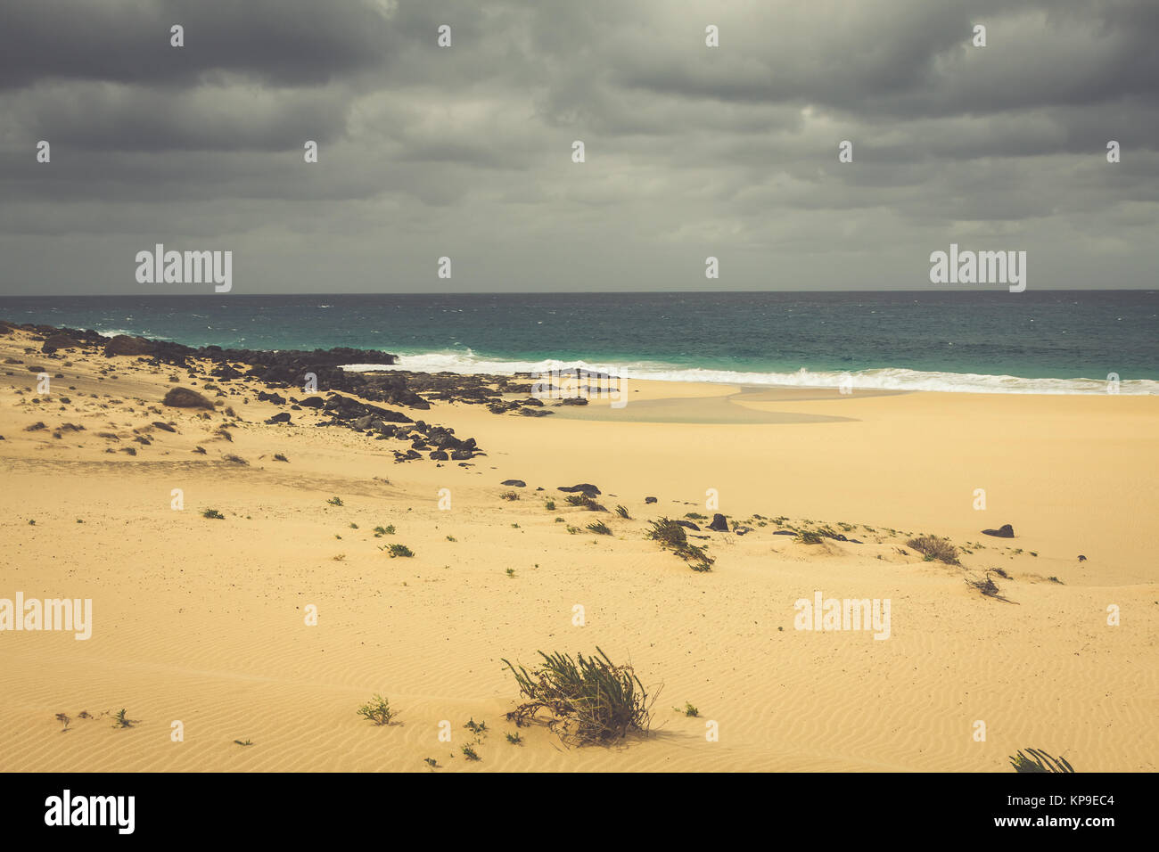 A view of Playa de Las Conchas, a beautiful beach on La Graciosa, a small island near Lanzarote, Canary Islands, - Stock Image