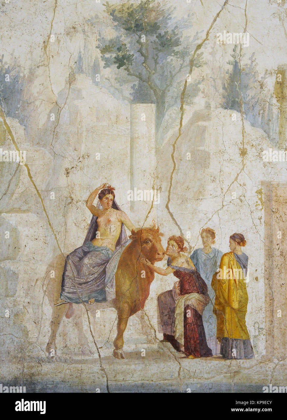 Fresco depicting The Abduction of Europe. Attributed to Master Chiaro. 1st century AD. Fourth Pompeian Style (45 - Stock Image