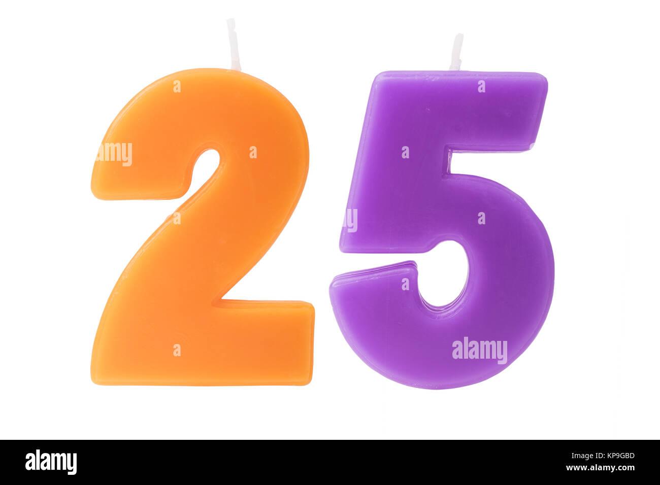 25th birthday candles isolated - Stock Image