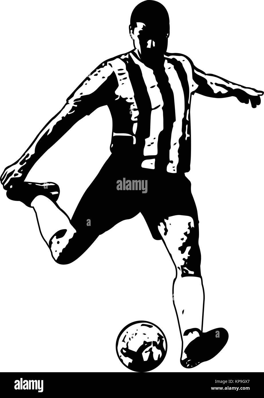 soccer player sketch illustration - vector - Stock Vector