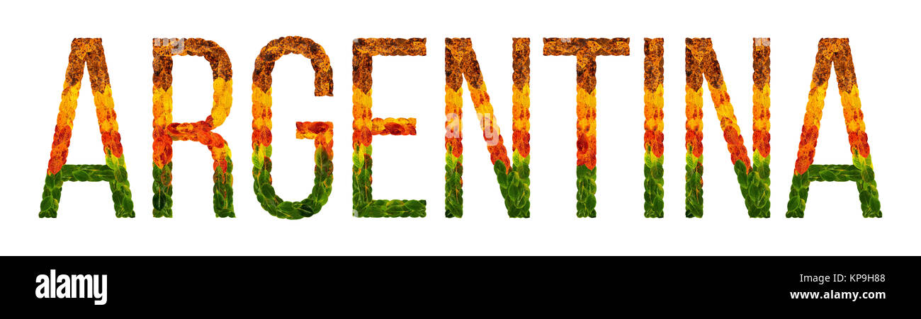 word argentina country is written with leaves on a white insulated background, a banner for printing, a creative - Stock Image