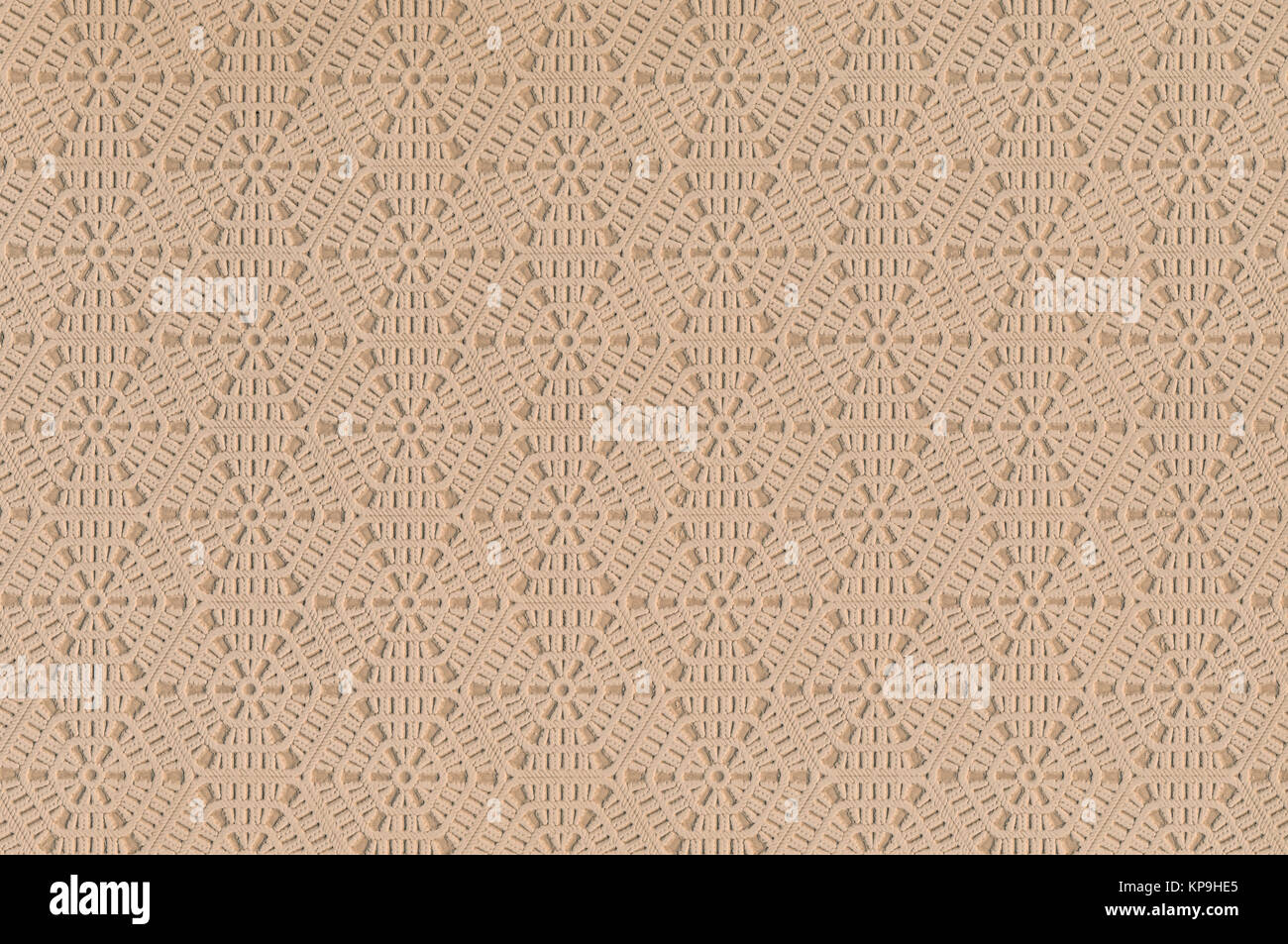 beige leather texture with decorative pattern as background - Stock Image