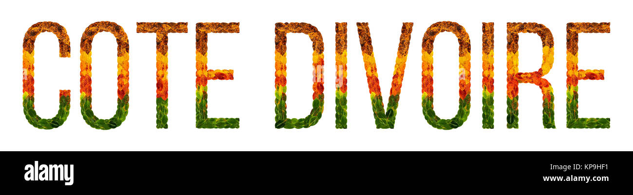 word Cote DIvoire country is written with leaves on a white insulated background, a banner for printing, a creative - Stock Image