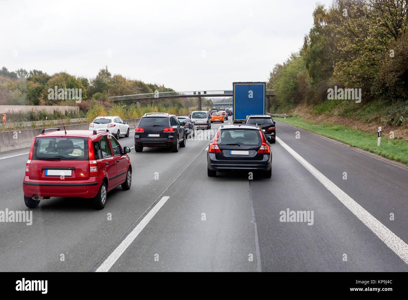 Traffic jam at the german highway (autobahn) Stock Photo