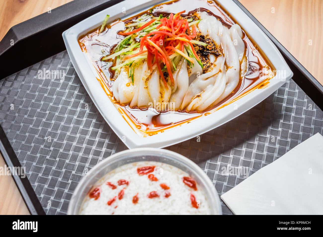 Traditional Chinese food ,cold rice noodles. - Stock Image