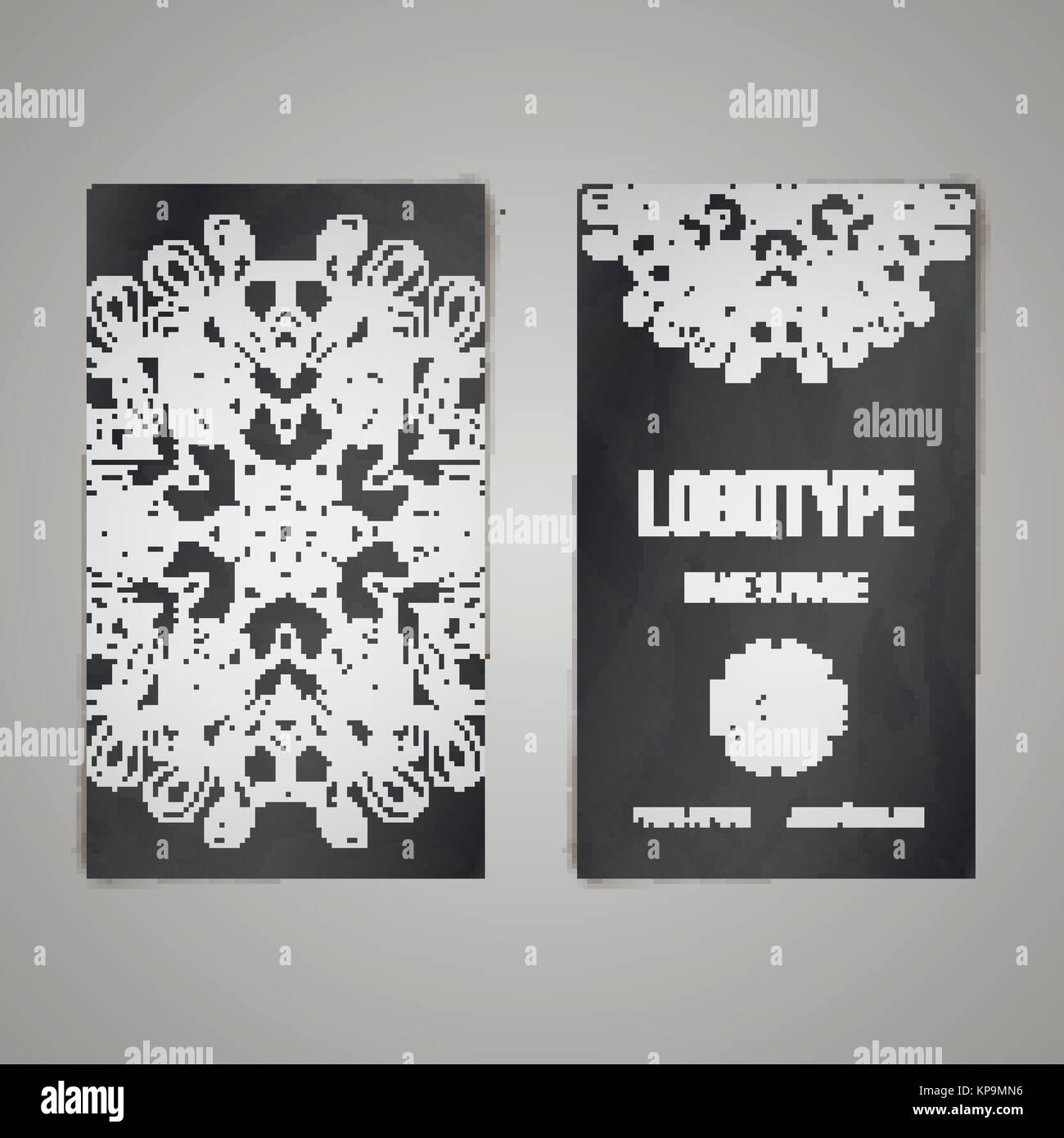 Design collection with mandala symbols. Set of business cards with ...