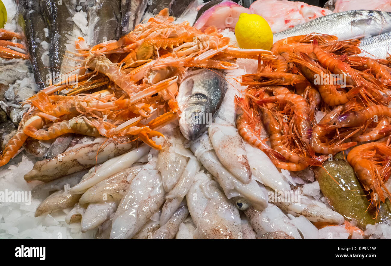 seafood in the boqueria in barcelona - Stock Image