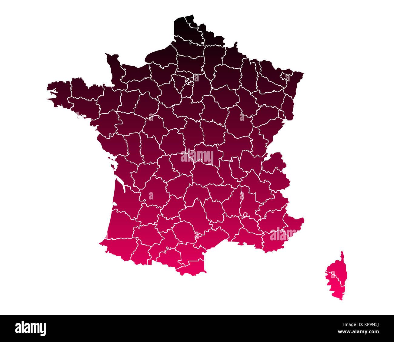 Karte von Frankreich - Stock Image