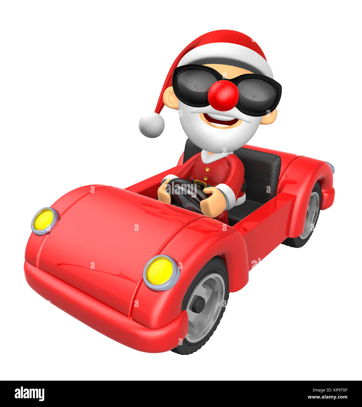 Christmas Sports Car.Driving A Red Sports Car In 3d Santa Character 3d Christmas