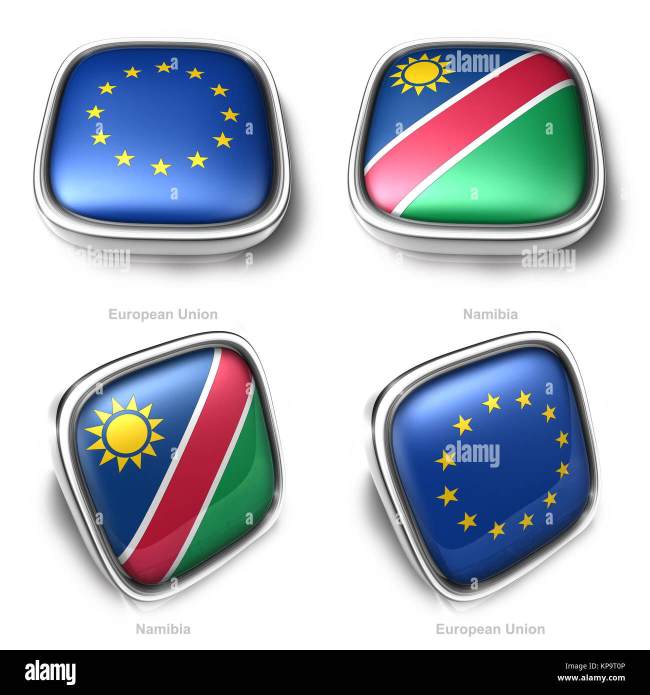 European Union and Namibia 3d metalic square flag button - Stock Image