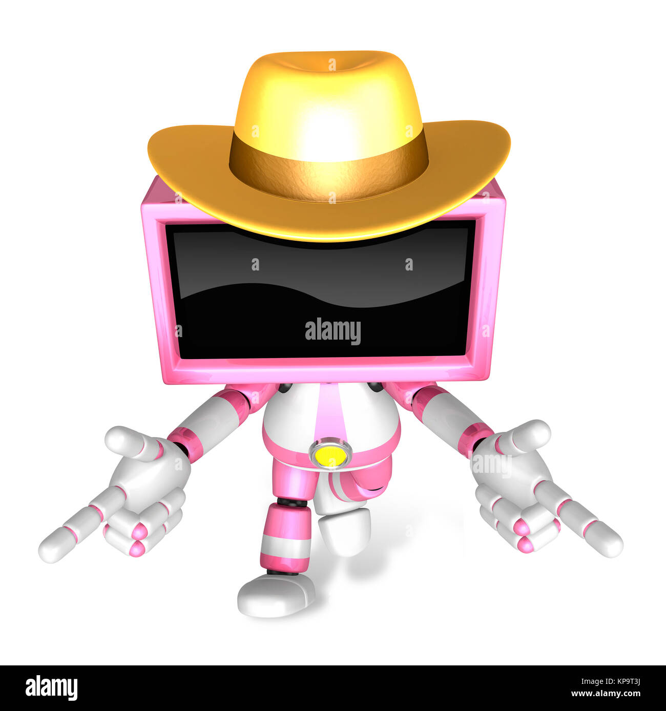 Magenta TV character are kindly guidance. Create 3D Television Robot Series. - Stock Image