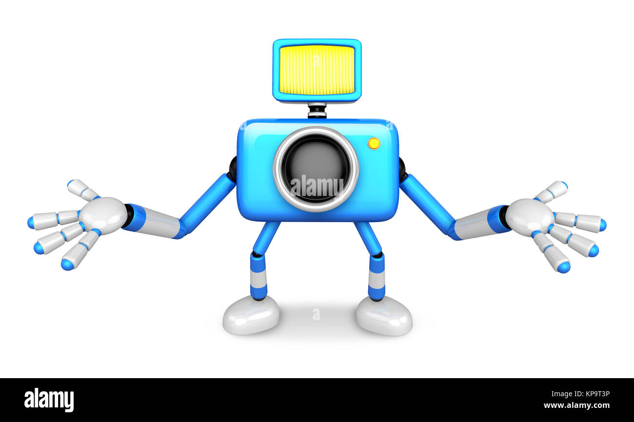 Nonsense blue Camera Character stretched out both hands. Create 3D Camera Robot Series. - Stock Image