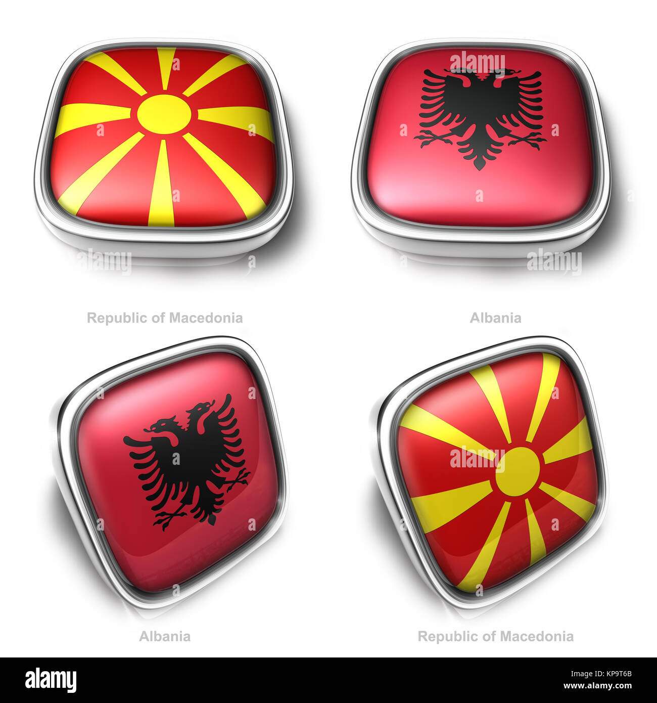 Republic Macedonia and Albania 3d metalic square flag button - Stock Image