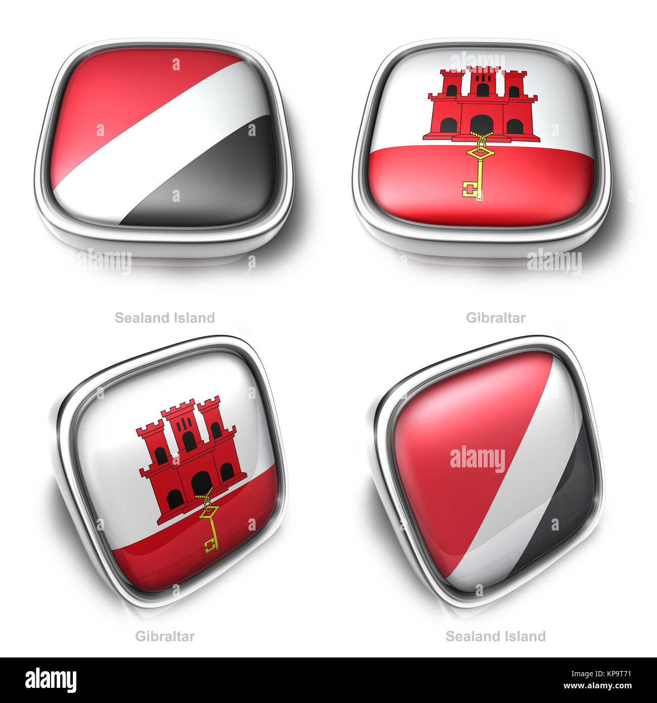 Sealand Island and Gibraltar 3d metallic square flag button - Stock Image