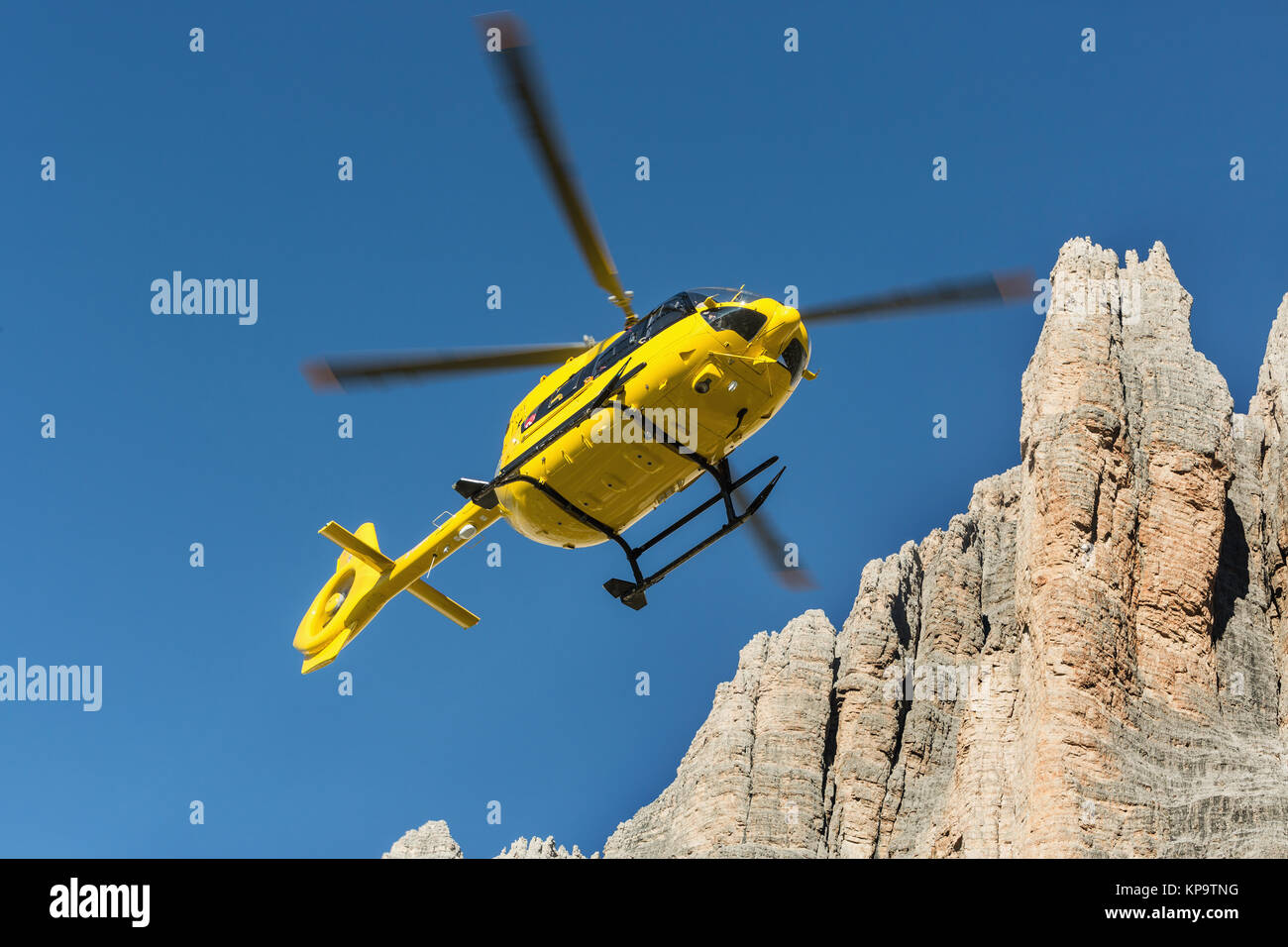 Yellow helicopter used for rescue operations, On the ground