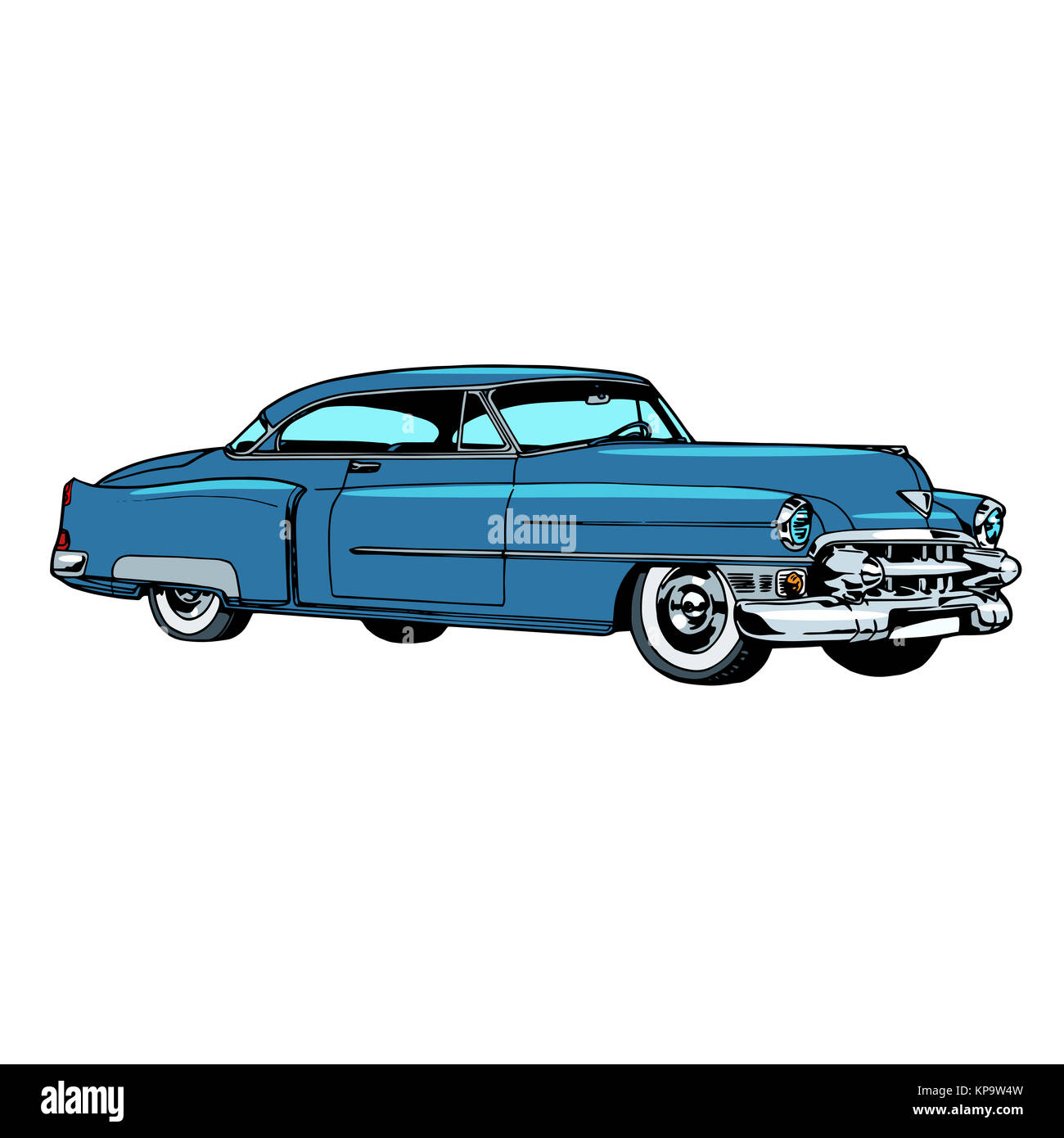 Retro blue car classic abstract model - Stock Image