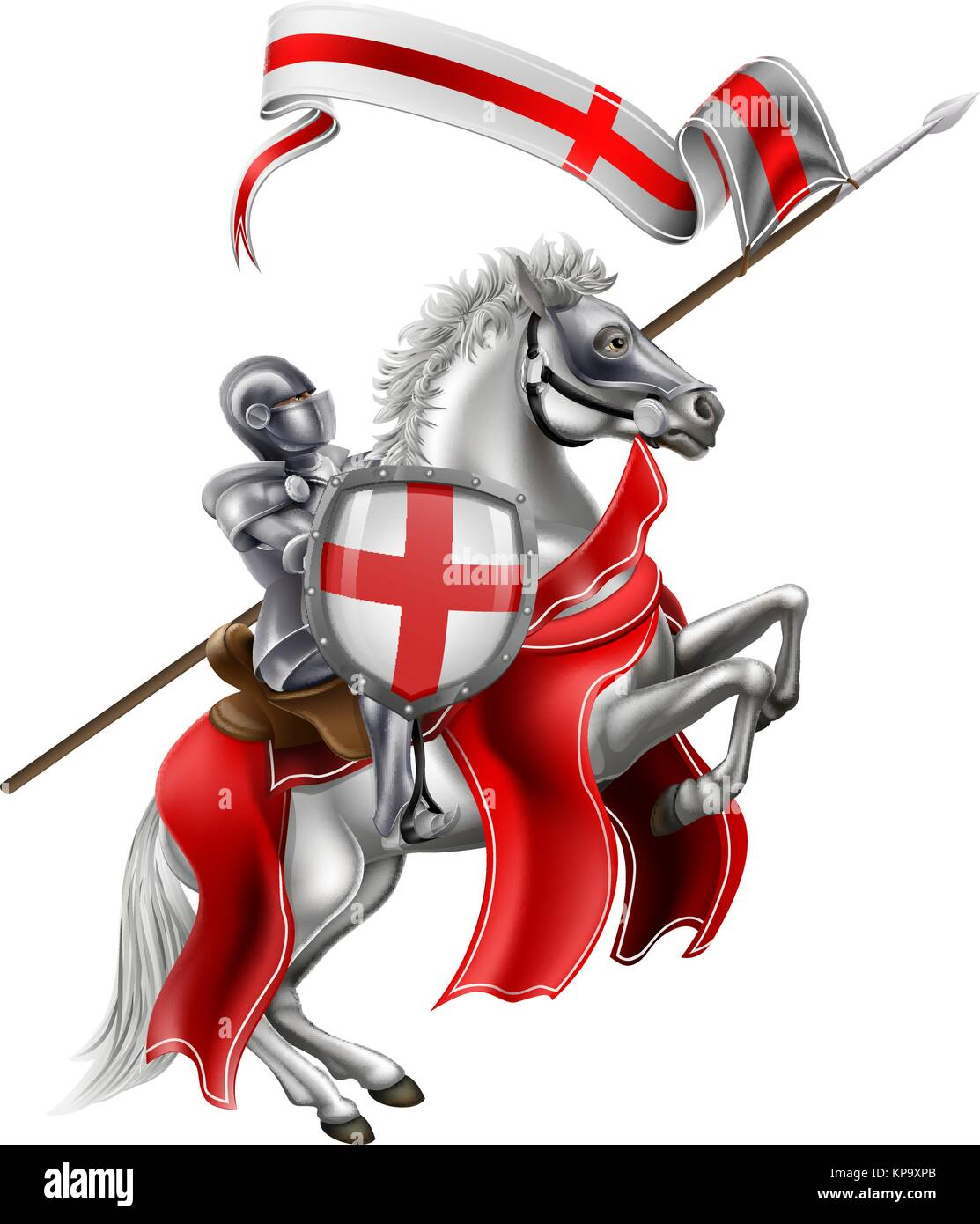 Saint George Medieval Knight on Horse - Stock Vector
